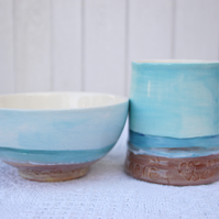 beach mug and bowl breakfast set.
