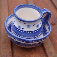 blues mug and bowl set