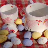 childrens mug and egg cup, Pink Chicken