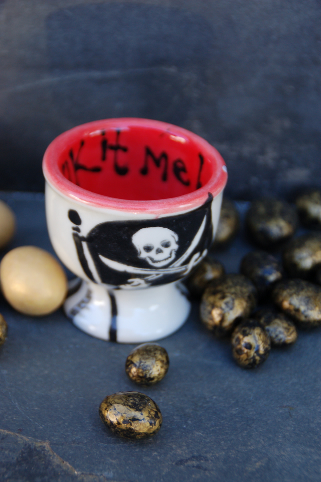 pirate egg cup - stripey