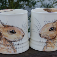 personalised hare mugs