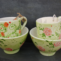 Roses without thorns, 2x Mug and bowl sets