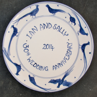 Wedding Anniversary plate Blue pheasants