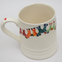 sock washing line mug