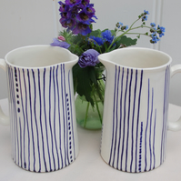 blue and white jugs