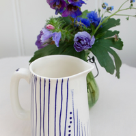 half pint blue and white jug