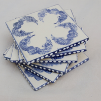 set if 6 blue winged love heart coasters
