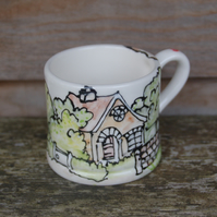 village scene children's mug
