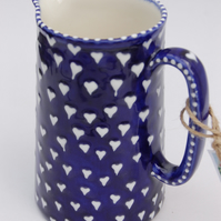 Blue and white heart jug