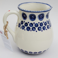 blue and white one litre jug