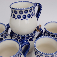 Blue and white, 6 hand painted mugs