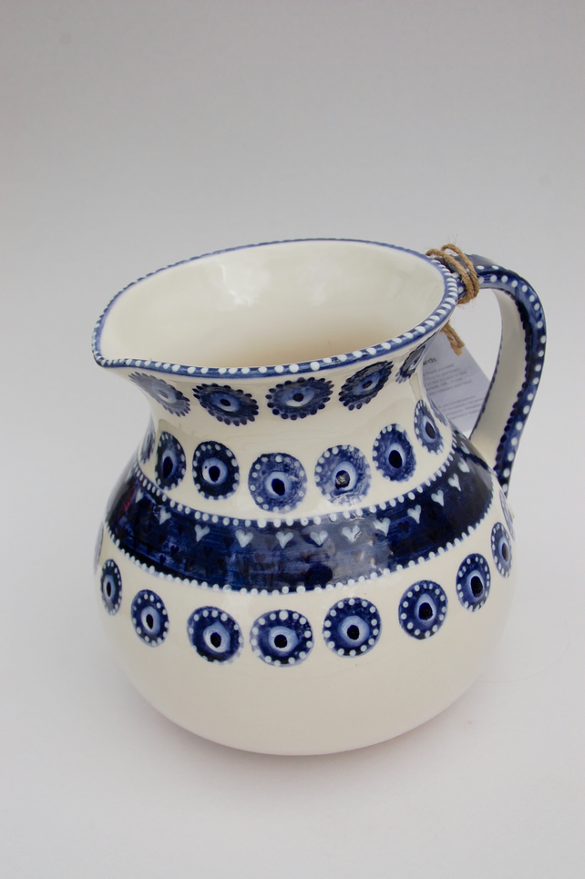 big 2 litre blue and white jug
