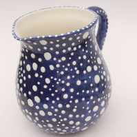 dotty blue and white jug