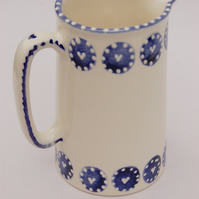 blue and white one pint jug, hearts and dots