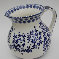 big  blue and white jug