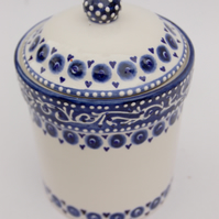 Blue and white storage jar