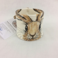 Small Hare mug, hand painted child half cup, coffee