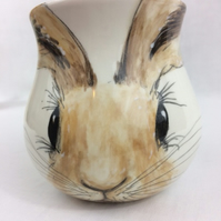 Hare mug, handpainted, earthenware
