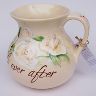 bespoke wedding jug, hand painted ceramic, personalised
