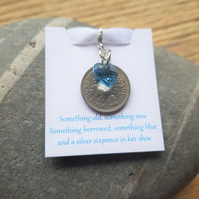 Brides Gift Lucky Sixpence Swarovski Aqua Blue Heart Charm Something Blue
