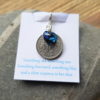 Brides Gift Lucky Sixpence Swarovski Bermuda Blue Heart Charm Something Blue
