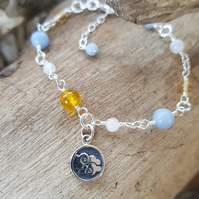 Air Element Double Sided Charm Bracelet Gemstone Citrine Angelite Moonstone