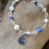 Water Element Double Sided Charm Bracelet Sodalite Amazonite Pearl  Pagan
