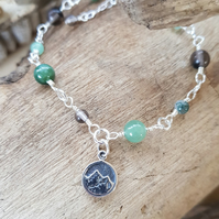 Earth Element Double Sided Bracelet Green Adventurine Moss Agate Smoky Quartz