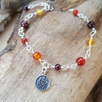 Fire Element Double Sided Charm Bracelet Gemstone  Amber Carnelian Garnet