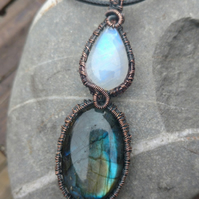 Oval Labradorite and Teardrop Moonstone Copper Wire Weave Pendant,