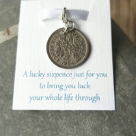 Brides Gift Lucky Sixpence Charm, Silver Sixpence Something Old Brides Gift