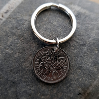 Birth Date Keyring 1964, Lucky Sixpence Keyring, Birthday Gift For Men, 1964