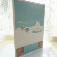 Personalised Tea and Cake Birthday Card