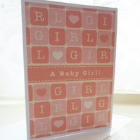 Personalised Baby Girl Block Card
