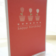 Red Potted Tulips Birthday Card