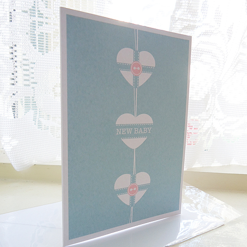 New Baby Hanging Heart Card