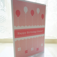 Personalised Sister Birthday Balloons Card