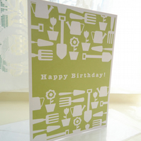 Personalised Green Gardening Birthday Card