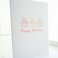 Cupcake Row Doodle Birthday Card