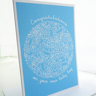 Blue Baby Boy Congratulations Card