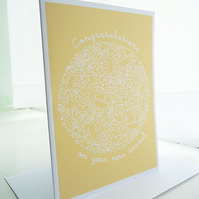 Yellow New Baby Congratulations Card