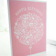 Personalised Craft Balloon Birthday Card