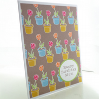 Personalised Colourful Tulips Pattern Birthday Card