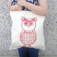 Owl Hand Printed Tote Shopper Bag (Blue Only)