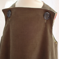 HALF PRICE SALE Girls Olive Pinafore Corduroy dress - Age 2 WAS £24!