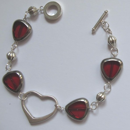 Red glass and silver bracelet and matching earings