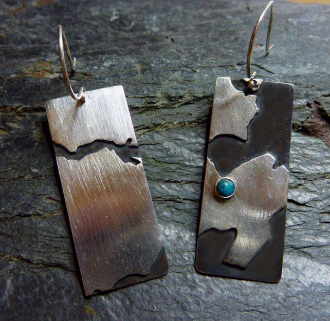 Silver map earrings