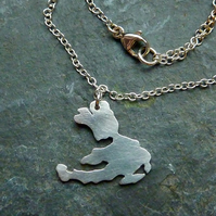 Small silver island necklace