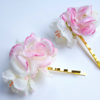 Hand painted flower apple blossom bobby pins