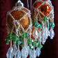 6 x Tangerine  Victoriana Crystal Baubles